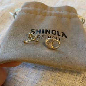 Shinola Sterling Silver Lock & Key Earrings